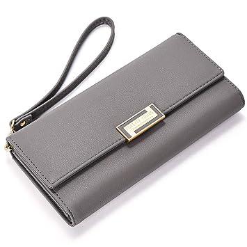 00629b5eda22d8 Geldbörse Damen PU Leder Lang Portemonnaie Geldtasche für Frauen viele  kartenfächer mit Handschlaufe Grau
