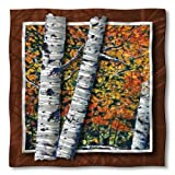 All My Walls Metal Wall Decor 28h x 28w Abstract Birch Tree 'Birch Trees' Steve Heriot