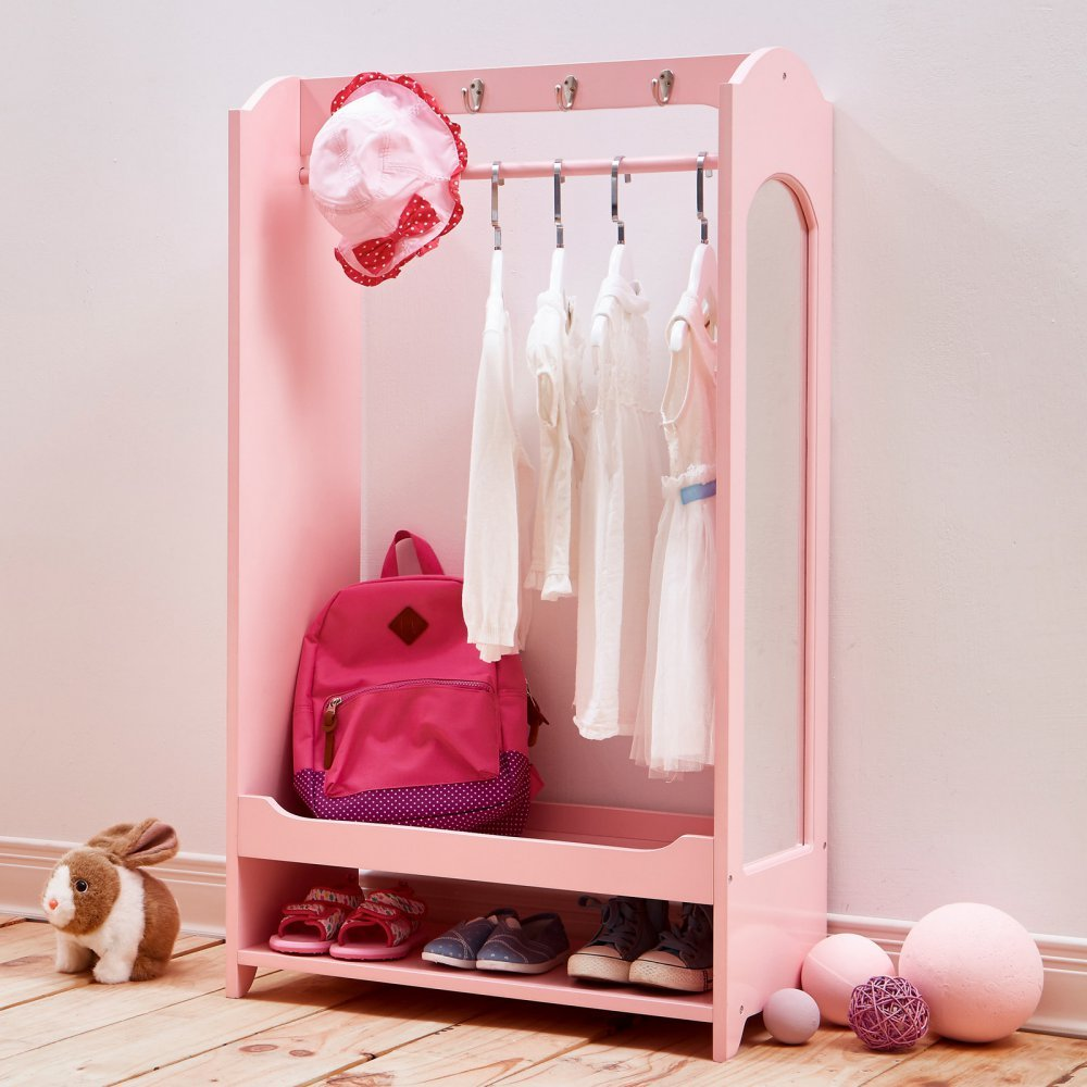 Teamson Kids -Windsor Wooden Dress Up Center with 4 Hooks & 1 Mirror