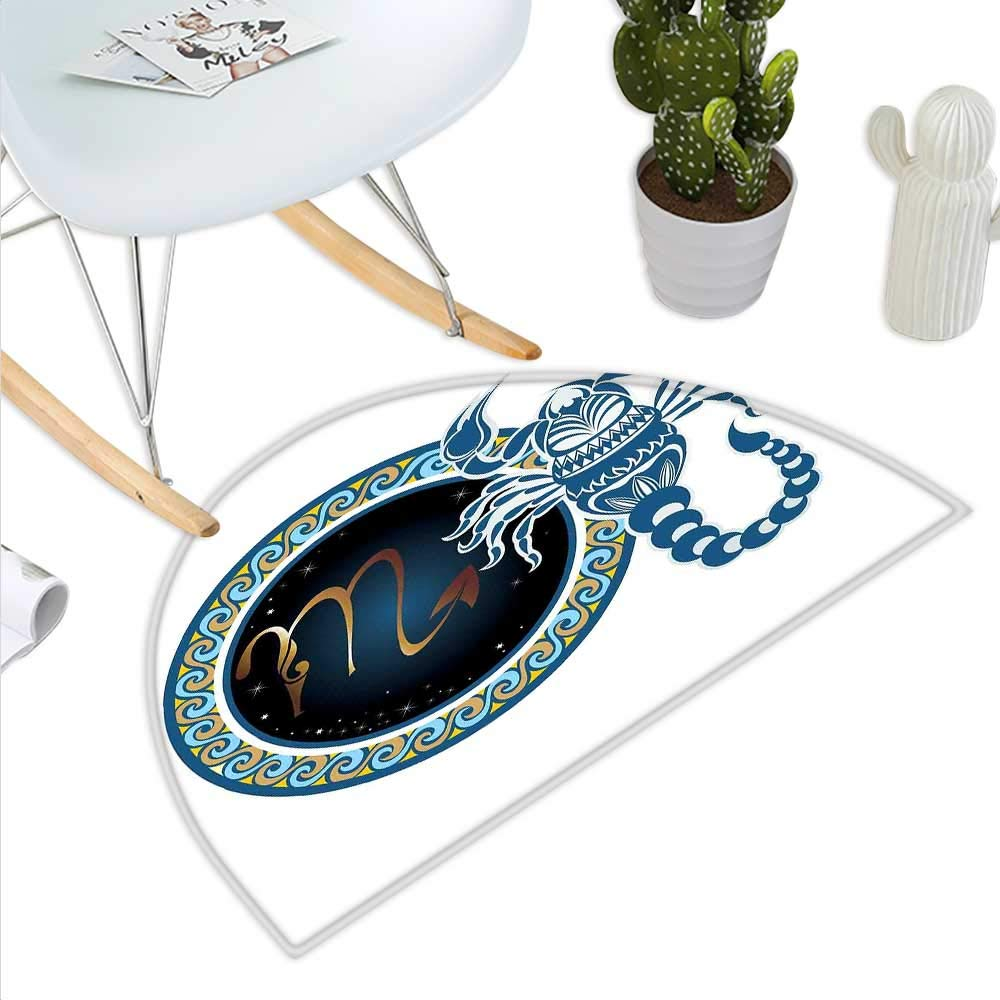 color02 H 39.3  xD 59  Zodiac Sagittarius Semicircle Doormat Hand Drawn Bow Arrow Motif with Leaves Flowers Astrology Sign Halfmoon doormats H 27.5  xD 41.3  Dark bluee and Grey