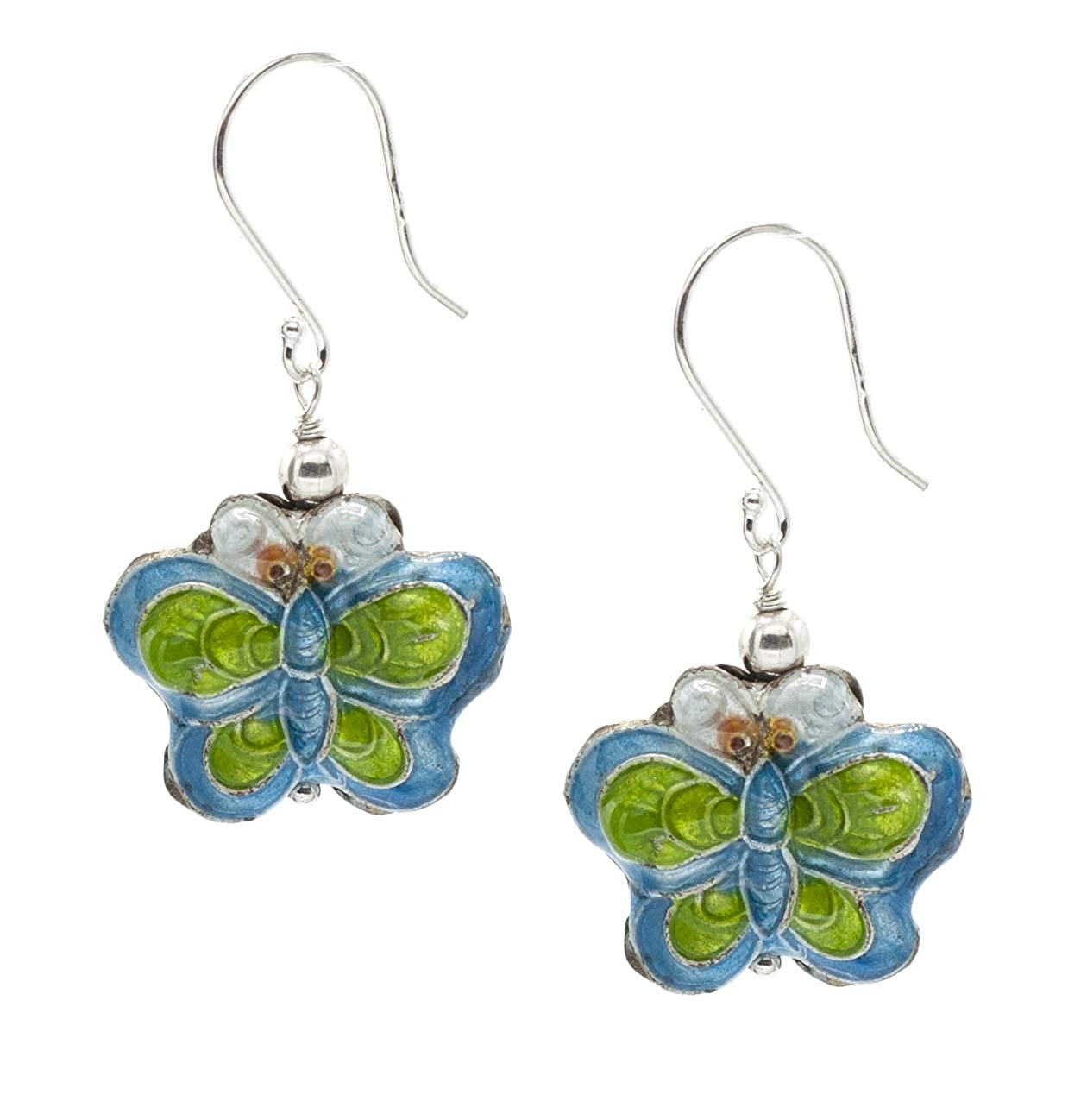 Sterling Silver Fishook Earrings with Blue//Green Butterfly-Shaped Cloisonnes