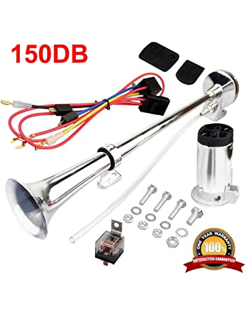 MIRKOO 12V 150dB Car Air Horn Kit, Super Loud 17.3 Inches Single Tone Chrome Plated