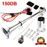 17 Inches Chrome Zinc Single Trumpet Truck Air Horn with Compressor for Trucks//Boats//Motorcycles ePathChina/® 12V//24V 150db Air Horn