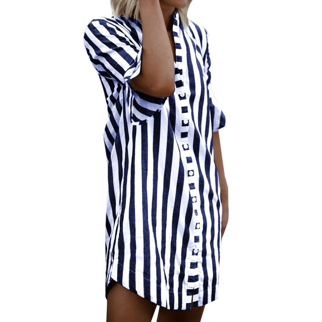 Moonuy Femmes corne manches rayé à manches mi-longues Half Sleeve Long Blouse T-Shirt Mode Raye Chemise Eté Casual D'été Manches Longues Blouse Tunique Chic Top Jupe rayée Bleu) 2018