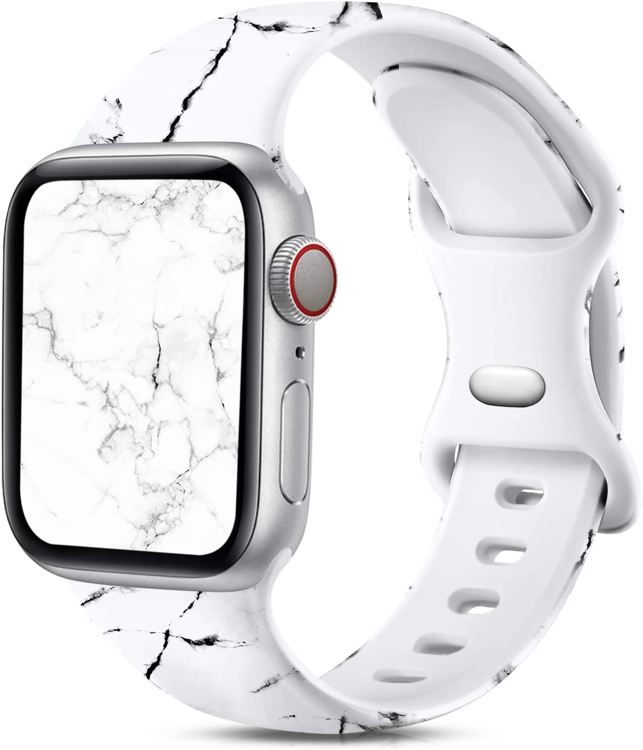 Ouwegaga Compatible with Apple Watch Band 44mm 42mm iWatch SE Series 6 5 4 3 2 1 Bands for Women Men,Fadeless Soft Silicone Floral Printed Pattern Wristbands Straps White Marble,S/M