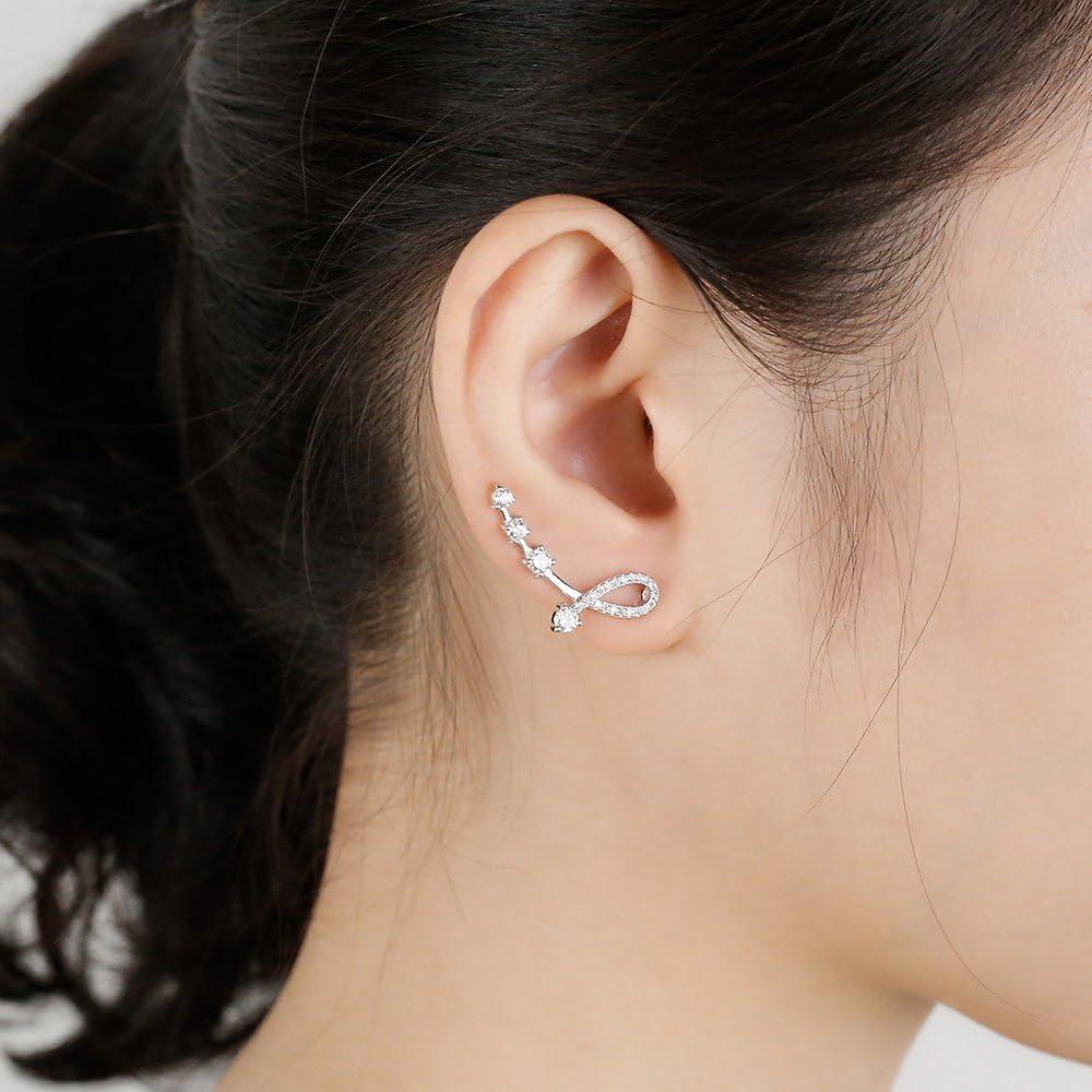 Mariafashion Cuff Earrings Sterling Silver Ear Climber Leaf Diamond Zircon Stud Earrings Ear Crawler