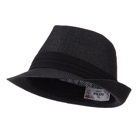 87fcfde2baa Amazon.com  Kid s Paper Straw Black Band Fedora - Black OSFM  Clothing