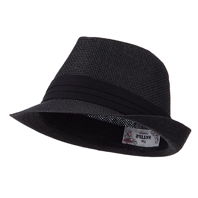 Amazon.com  Kid s Paper Straw Black Band Fedora - Black OSFM  Clothing 5fae61801893