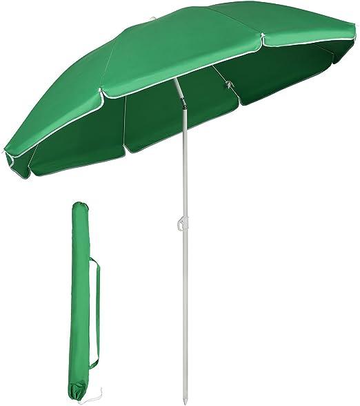 Sekey® Sombrilla Ø 160 cm Parasol para terraza jardín Playa balcón ...