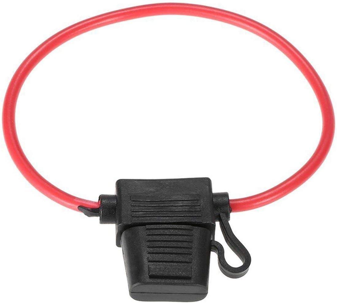 r/ésistant aux /éclaboussures DC 12V 40A pour v/élo de Voiture Porte-fusible int/égr/é pour Lame Couleur: Support Noir avec Fil Rouge