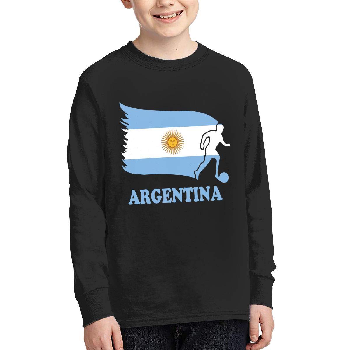 Teenagers Teen Girls Argentina Football Soccer Flag Printed Long Sleeve 100/% Cotton Tops