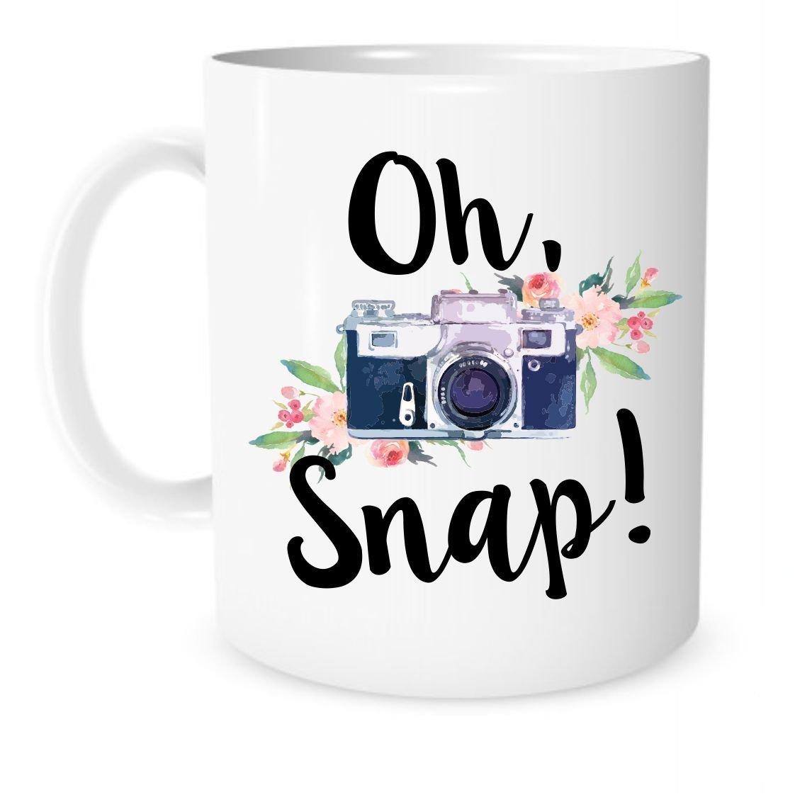 11 Ounce White Ceramic Coffee or Tea Mug Gift for Photographer Photography Cup Photo Editing Mug Oh Camera Mug Christmas Present The Coffee Corner Snap