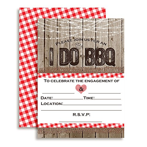 Amanda Creation I Do BBQ Engagement Party Fill in Invitations Set of 20 with envelopes. Perfect for Celebrating The Newly Engaged Couple