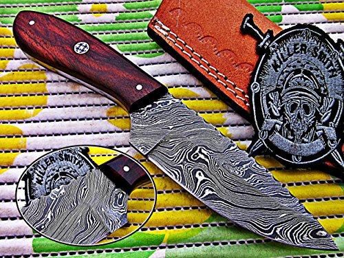Cheap KSk Chef&Hunting Knifes Hunting Skinner Knife Damascus Handmade Steel Blade with Rose Wood Twist Pattern Handle