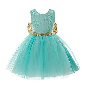 Inlefen Blumenmädchen Kleid Hochzeit Geburtstag Pailletten Bowknot Floral ärmellose Prinzessin Formelle Kleidung für Baby Kle