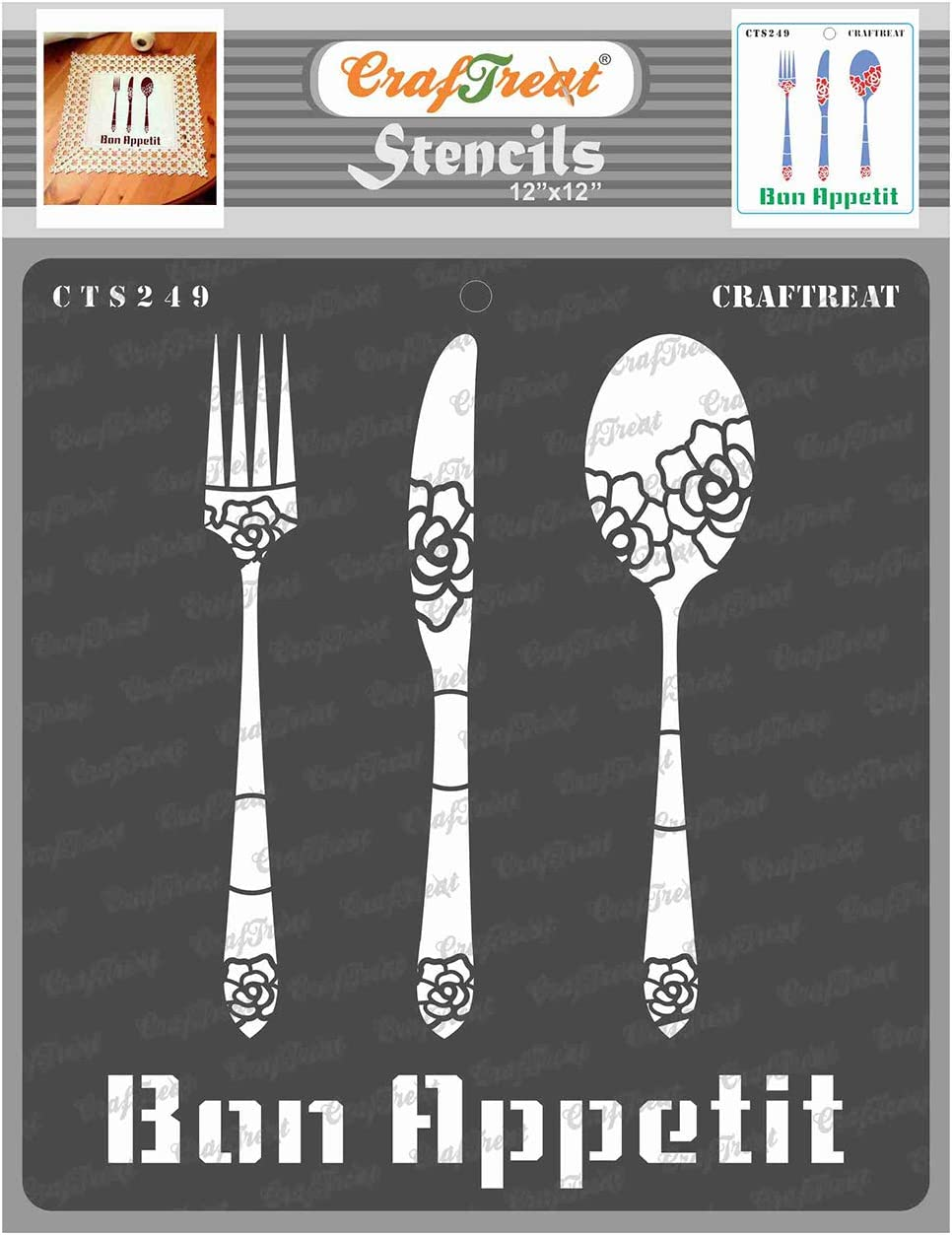 CrafTreat Kitchen Decor Stencils for Painting on Wood, Canvas, Paper, Fabric, Floor, Wall and Tile - Bon Appetit - 12x12 Inches - Reusable DIY Art and Craft Stencils - Kitchen Decor