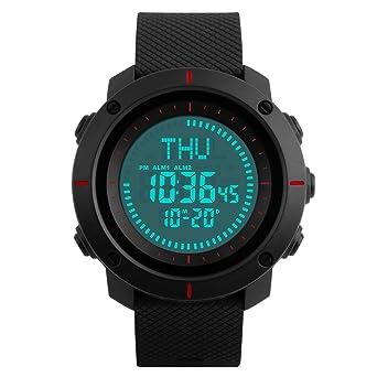 Reloj deportivo multifuncional para hombre, Farsler 50M Reloj grande impermeable Reloj digital para niño mundial luminoso, Reloj despertador + Calendario + ...