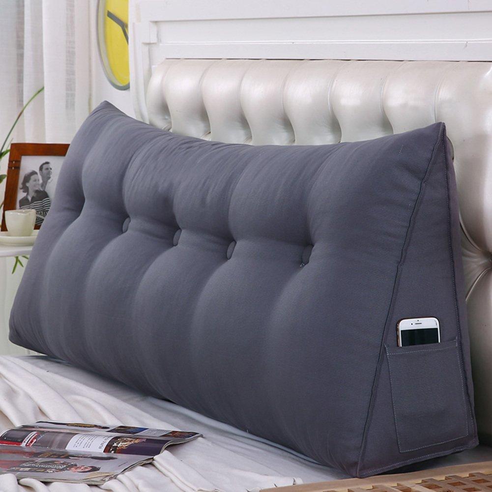 Solid Color Tatami Bedside Back Cushions,Triangular Wedge Reading backrest Cushion,Three-Dimensional Sofa backrest, Headboard Cushion,Washable-grayA 78x7x19inches(2002050cm)