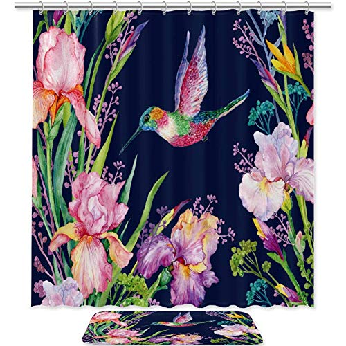 QIAOSHENG Shower Curtains Hummingbird Iris Flower Bath Curtain Set Decor Waterproof with 12 Hooks and Anti-Slip Bath Floor Mat Rug for Bathroom