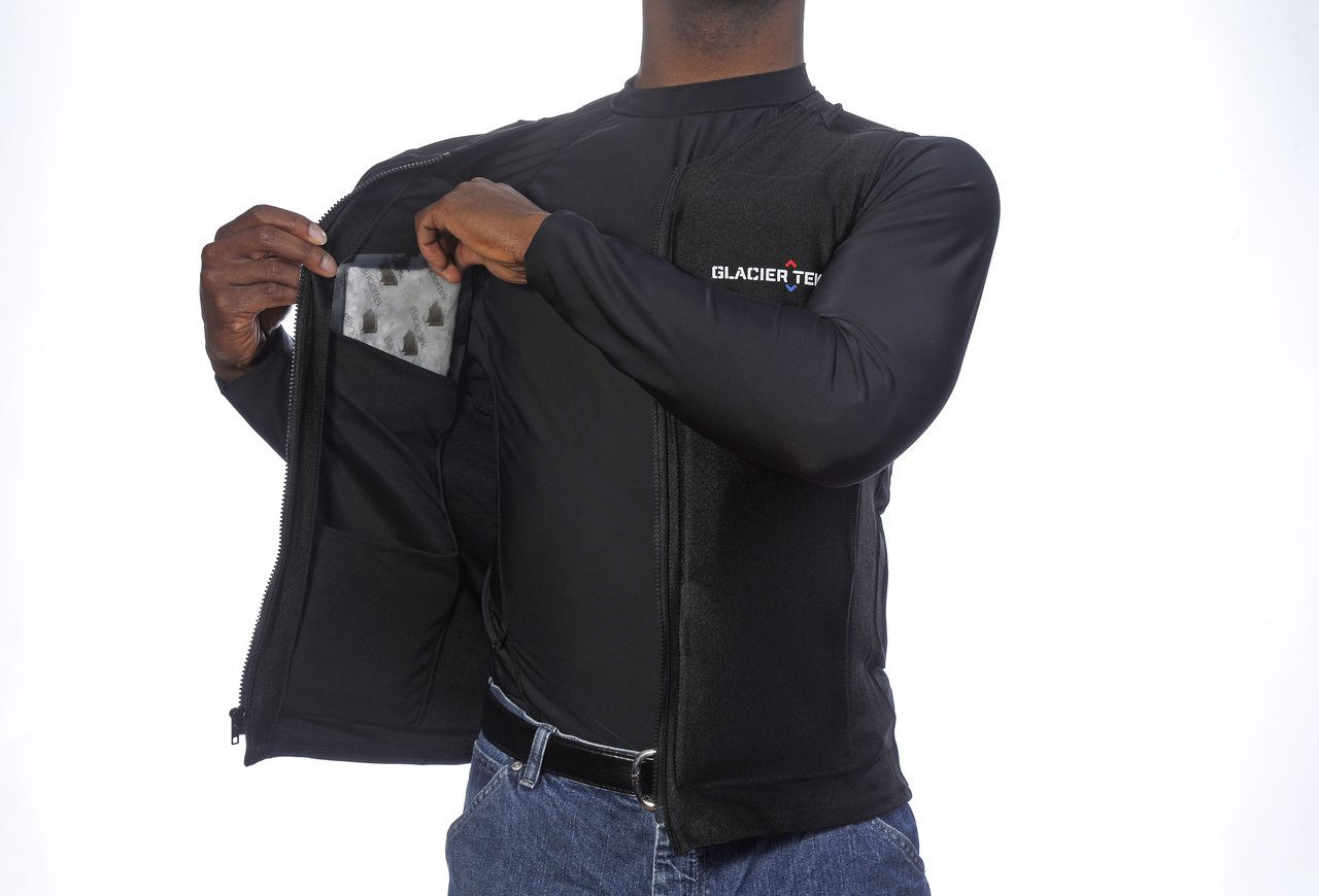 Flex Vest Cool Vest with Nontoxic Cooling Packs Black Medium (Chest Size 36-42) by Glacier Tek (Image #3)