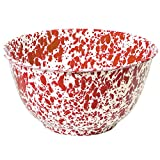Enamelware Large Salad/Serving Bowl - Red Marble
