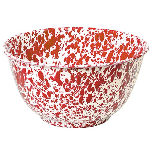 - Enamelware Salad Bowl, 4 quart, Red/White Splatter
