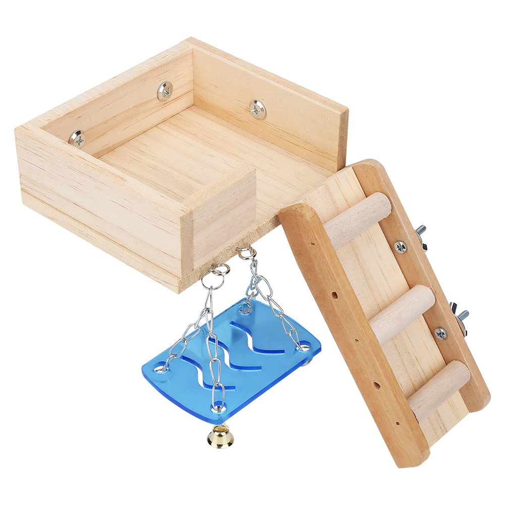 Fdit Wooden Hamster Platform, Pets House Swing and Ladder Set Squirrel Mouse Ladder Attic Climbing Kits for Small Animals