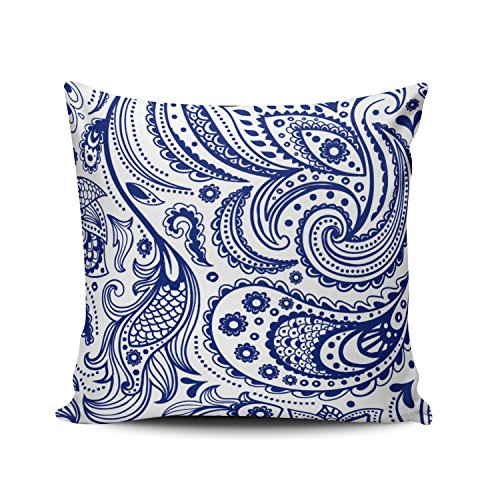 - Hoooottle Beauty Elegant Vintage Floral Paisley White Royal Blue Pillowcase Home Style Decorative Throw Pillow Cover Cushion Case Square size 18