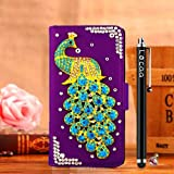 Locaa(TM) HTX One Max T6 HTCT6 3D Bling Peacock Case + Phone stylus + Anti-dust ear plug Deluxe Luxury Crystal Pearl Diamond Rhinestone eye-catching Beautiful Leather Retro Support bumper Cover Card Holder Wallet Cases [Peacock Series] Purple case - Skyblue peacock
