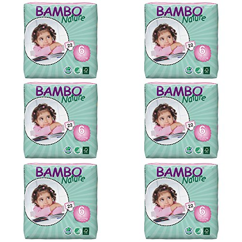 : Bambo Nature Premium Baby Diapers, Size 6, 132 Count (6 Packs of 22)
