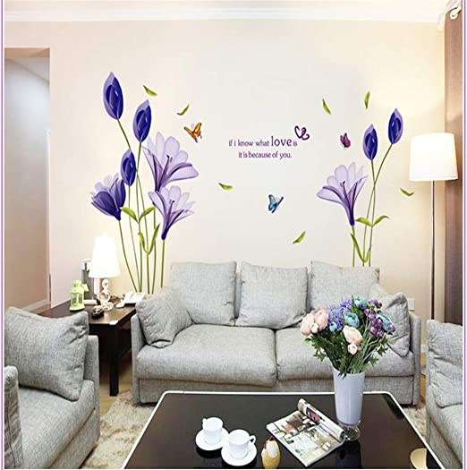 Modern Lily Flower Floral Wall Sticker Living Room Removable Art Decals Decor