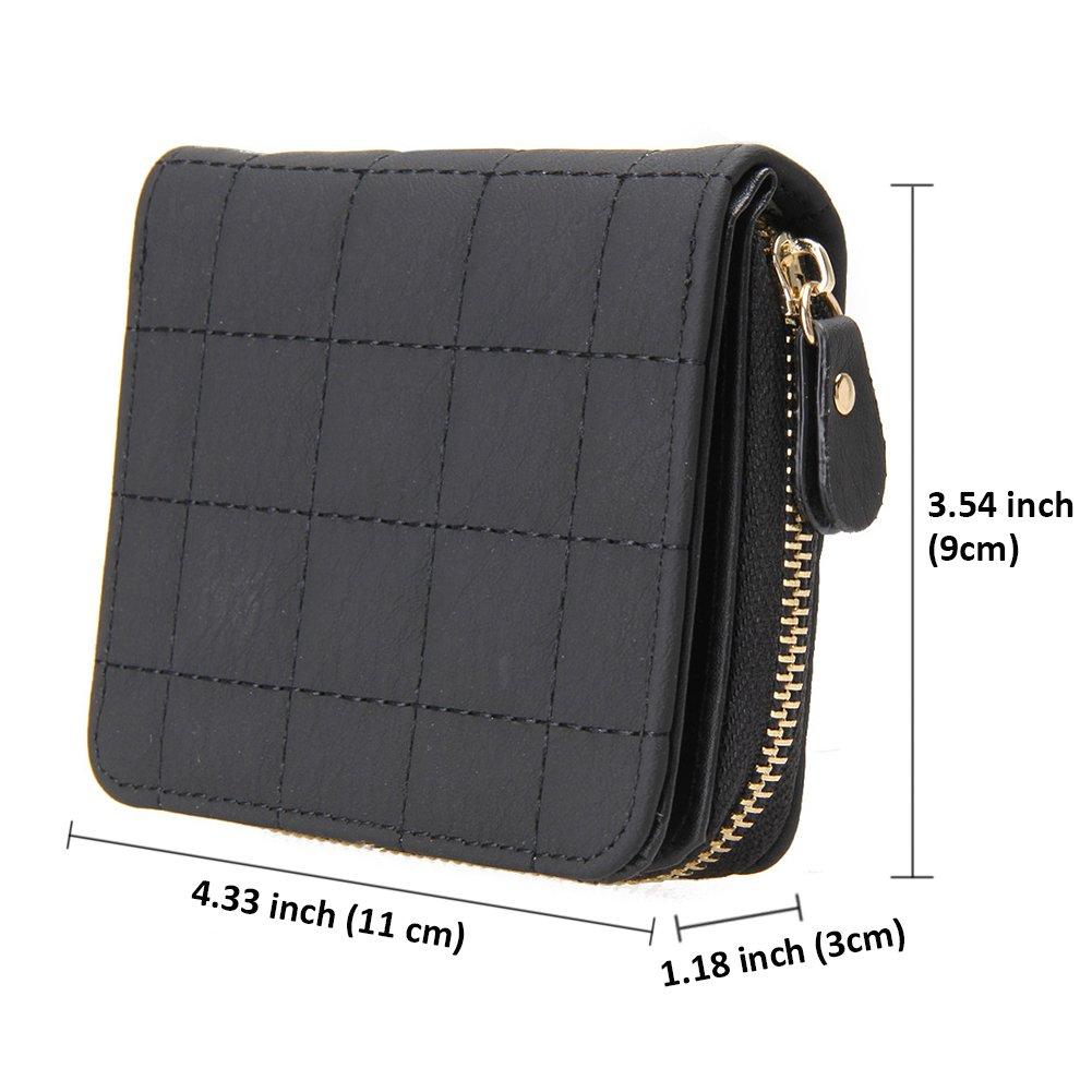 Premium PU Leather Wallet Portamonedas estilo peque/ño con cremallera Aeeque Girls Women Ladies Purse 7 ranuras para tarjetas Rojo