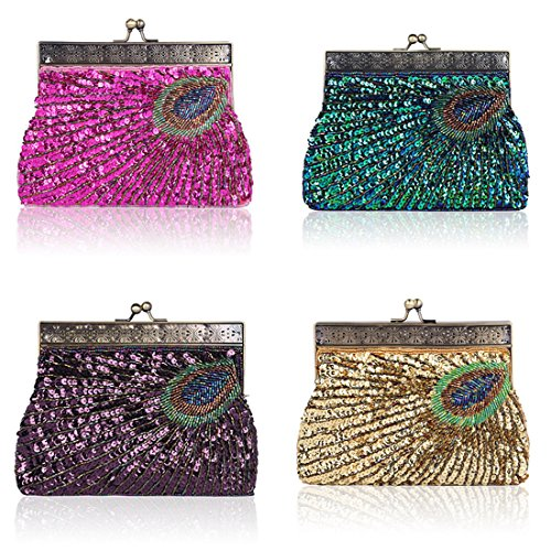 Unusual Elegant Designer Women's Purple Evening Teal Sequin Antique Fashion Peacock Vintage Handbag Sequin Clutch Beaded Purse 4wzEHFfqz