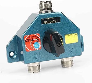 Bobury Jamón DIY repetidor de radio UHF de 2 puertos de conector hembra 1,8 a 600 MHz Manual de conmutador de antena aérea para CA-201 CB antena de ...