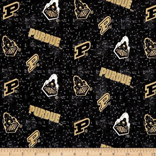 (Sykel Enterprises NCAA Purdue University Flannel Distressed Logo Grey Fabric by The Yard,)