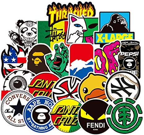 Nimade Logo Stickers 100pcs Cool Brand Skateboard Stickers Vinyl Waterproof Stickers for Teens Kids Adults for Laptop Computer Skateboard Luggage Decal Stickers