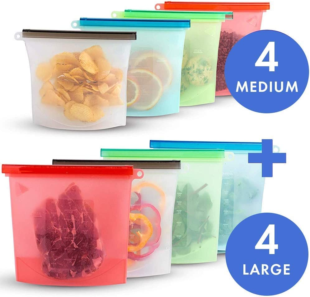 8 Pack Reusable Silicone Food Storage Bags,Wolife Airtight Seal Food Menstrual Cups/Food Grade/Versatile Preservation Bag Container for Vegetable,Liquid,Snack,Meat,Lunch,Fruit(4-Medium,4-Large)