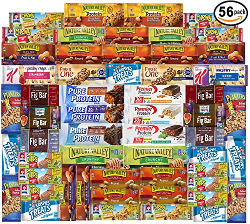 Ultimate Healthy Fitness Box – Protein & Healthy Granola Bars Sampler Snack Box (56 Count) – Care Package – Gift Pack – Variety of Fitness, Energy Bars and Premier Protein Bars. For Sale