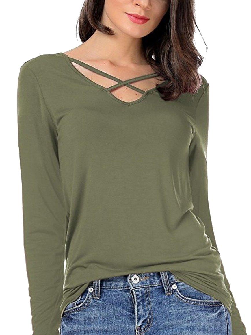 FISOUL Women's Criss Cross Slim T-Shirt Sexy V-Neck Casual Tee Shirt Top (Army Green XL)