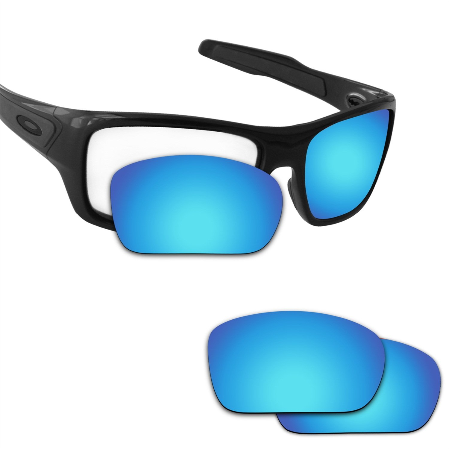 Fiskr Anti-saltwater Polarized Replacement Lenses for Oakley Turbine Sunglasses (Ice Blue - Anti4s Mirror Polarized, 0) by Fiskr