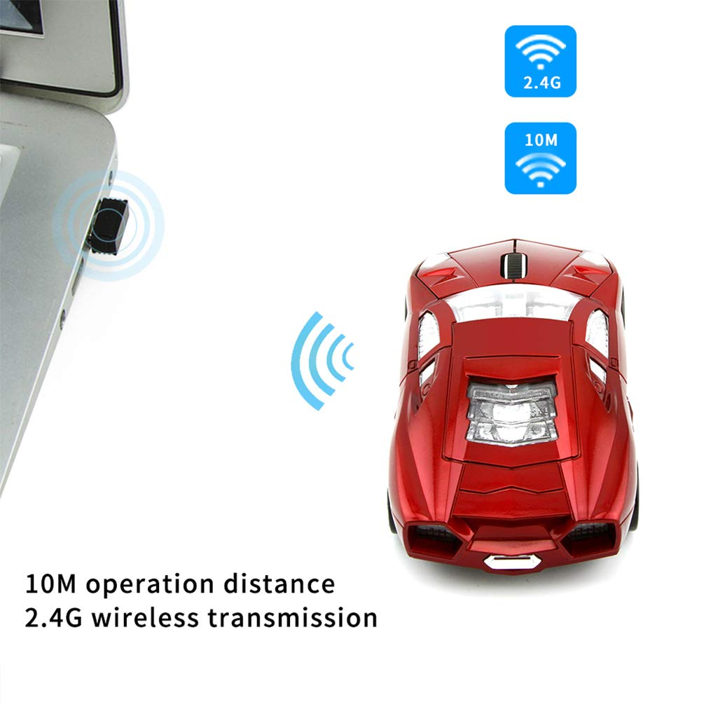 TOP SKY 2.4GHz 3D Cool Car Shaped Wireless Mouse 1600DPI 3 Buttons Optical Gaming Mice with USB Receiver for PC Notebook Laptop Gift Yellow