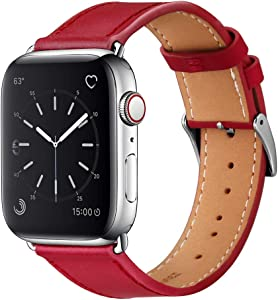 Marge Plus Compatible with Apple Watch Band 44mm 42mm 40mm 38mm, Genuine Leather Replacement Band for iWatch Series 6 5 4 3 2 1, SE (40mm/38mm Red/Silver).