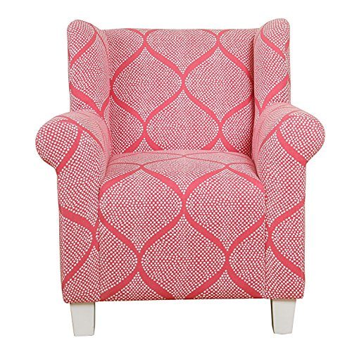 HomePop Youth Upholstered Accent Chair, Strawberry and White