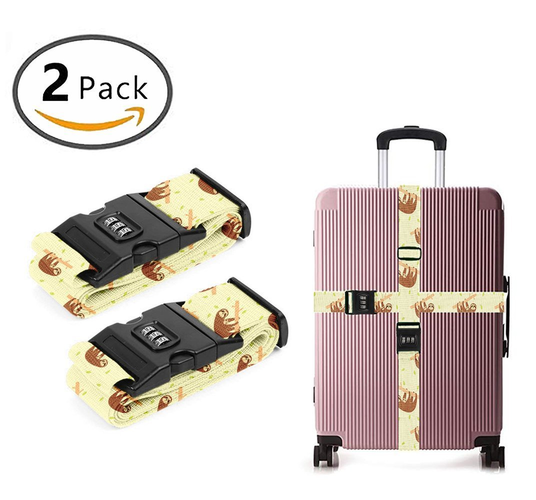 SWEET TANG Luggage Strap Combination Lock Adjustable Suitcase Travel Belt Lazy Cute Sloths