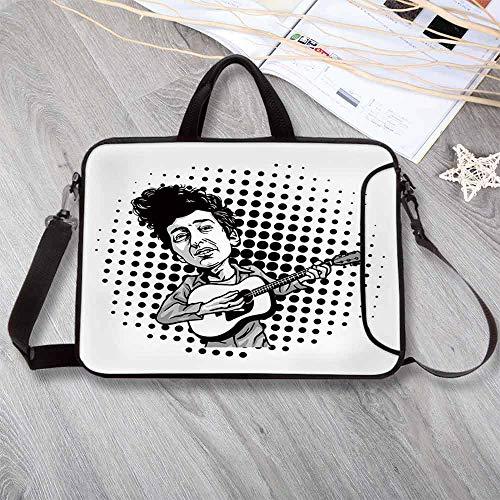 Bob Dylan Decor Custom Neoprene Laptop Bag,Pop Art Cartoon Style Musician Playing Guitar Folk Music Singer Icon Decorative Laptop Bag for Men Women Students,13.8