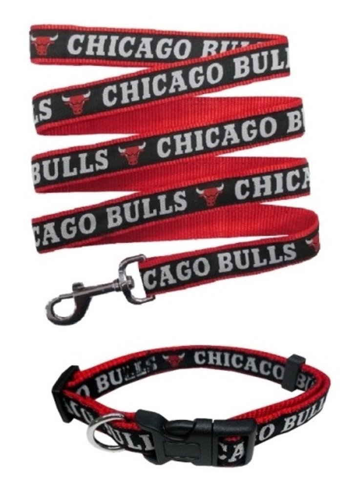 Chicago Bulls Nylon Collar for Pets and Matching Leash (NBA Official by Pets First) Size Large