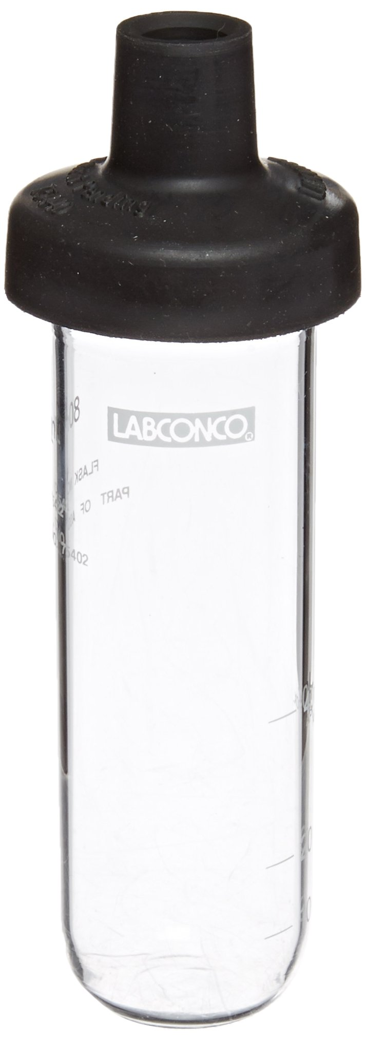 Labconco Fast Freeze 7540200 Borosilicate Glass Wide Mouth Flat Bottom Complete Flask, 80ml Capacity