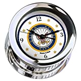 Atlantis Chrome Plated Quartz Ship's Bell Clock #NV220100 01A (#7 Emblem Printed in Full Color with Black Numbers, Gold Stars, and Navy Blue Border)