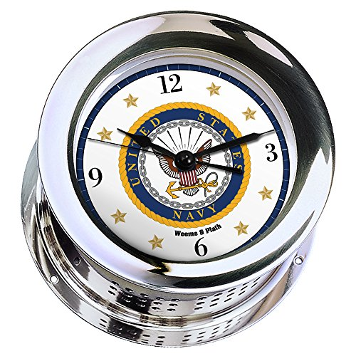 ed Quartz Ship's Bell Clock #NV220100 01A (#7 Emblem Printed in Full Color with Black Numbers, Gold Stars, and Navy Blue Border) ()