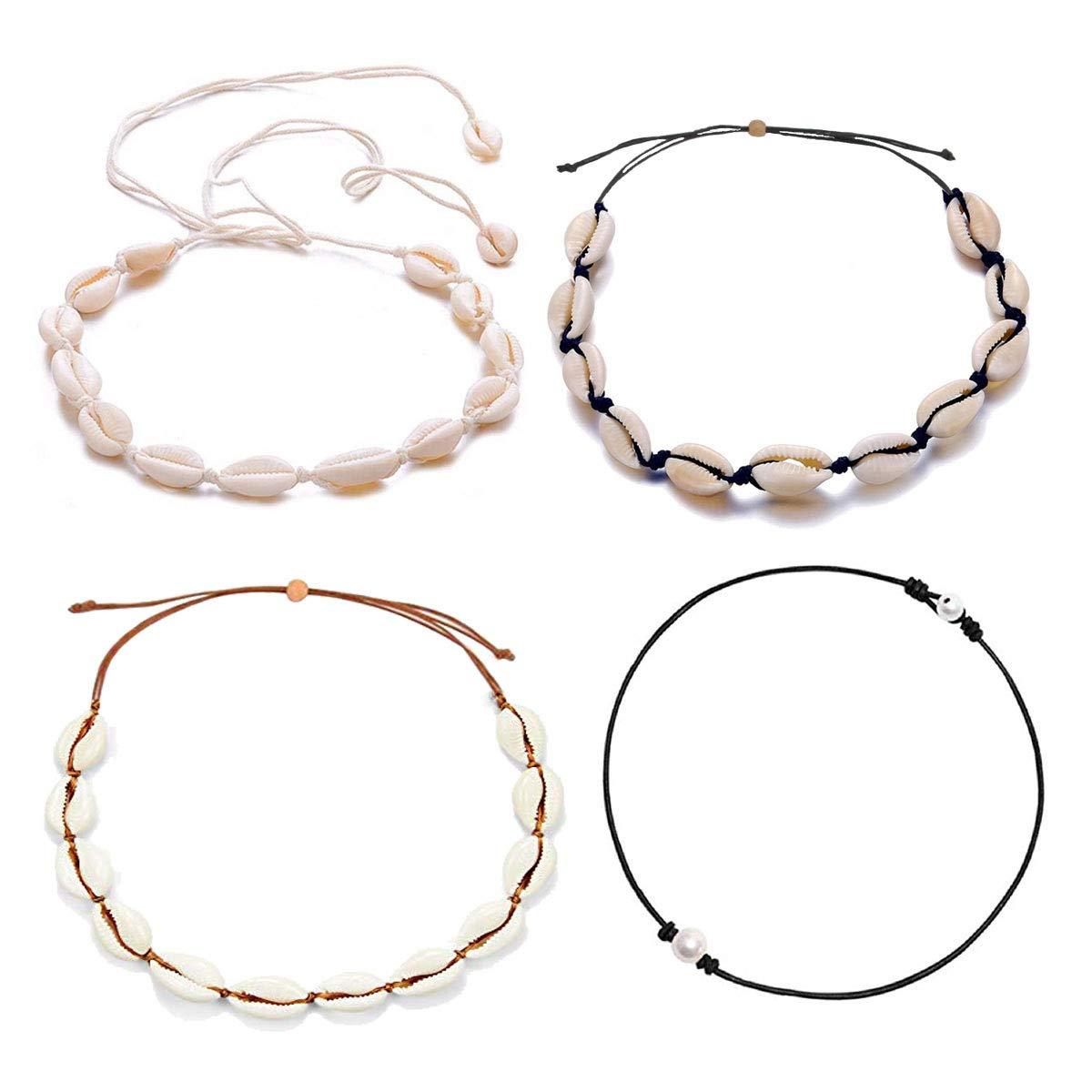 ATIMIGO Summer Beach Shell Conch Choker Handmade Boho Cowrie Pearl Necklace Jewelry for Women Girls